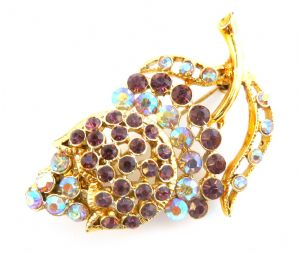 Vintage Aurora Borealis And Purple Rhinestone  Floral Design Brooch.